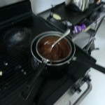 "First, heating the chocolate and the butter ""au bain marie"""