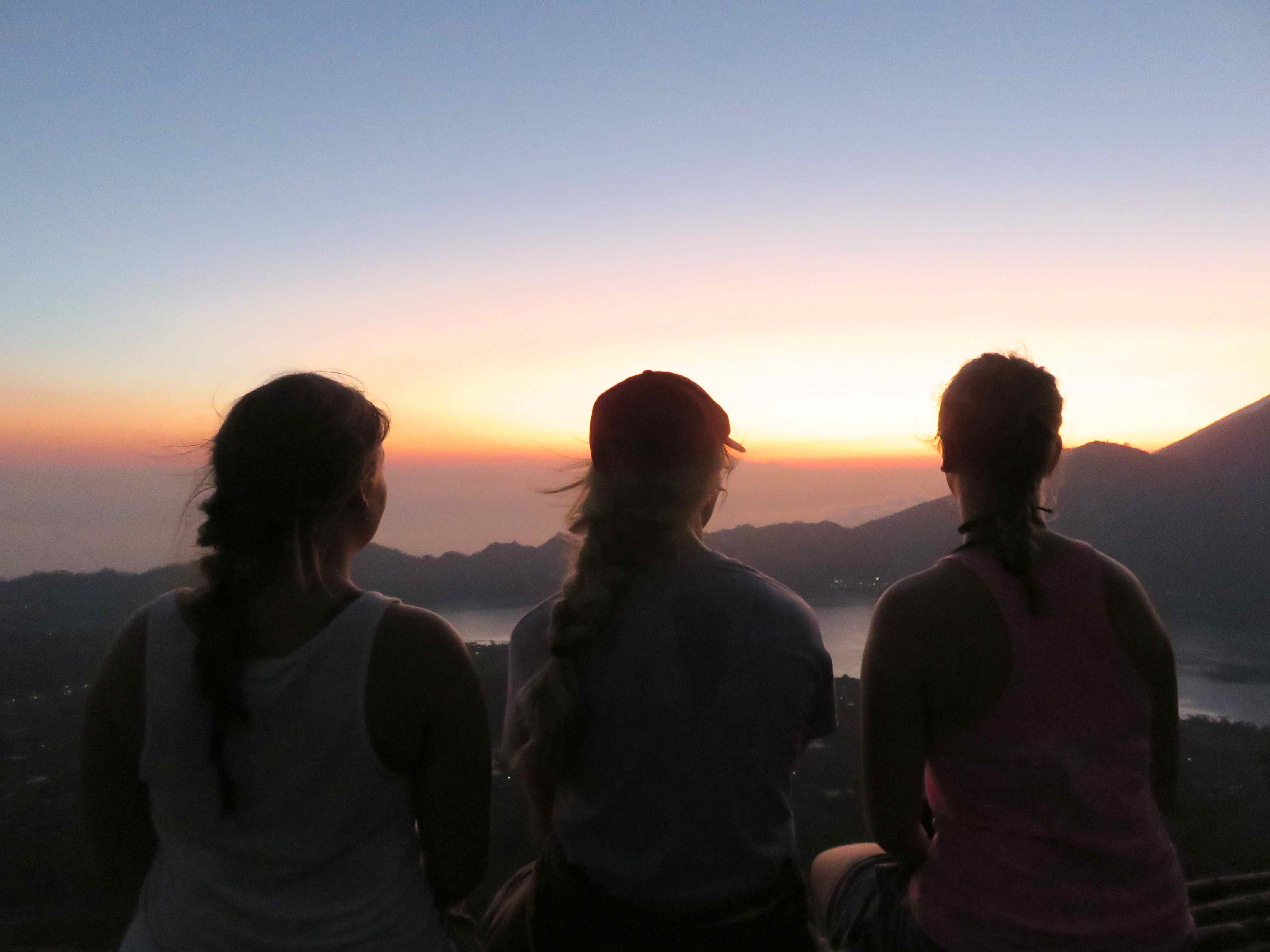 Waking up at 2 a.m., climbing a volcano to watch the sunrise over the mountains and ocean in Bali, Indonesia. I will always remember the life long friendships made, the places I'v been and the memories I've made.